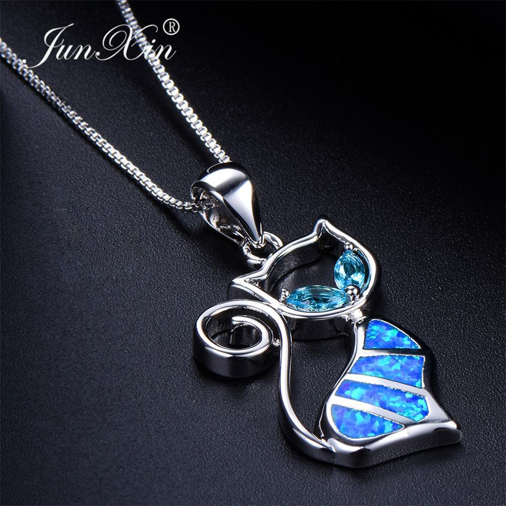 The Stylopedia necklace Blue Cat Pendant Necklace