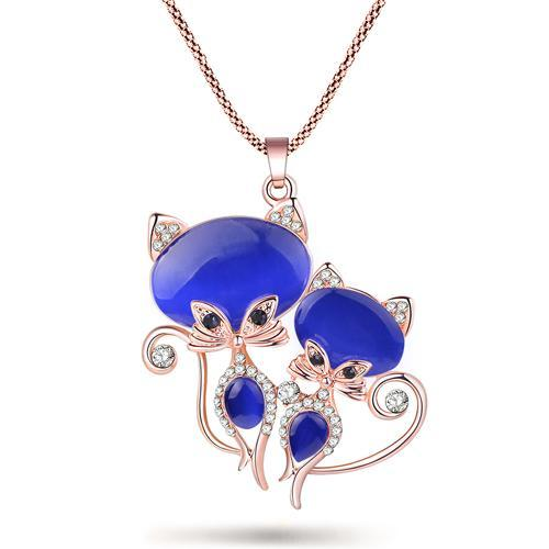 The Stylopedia necklace Blue Twin Cat Pendant Necklace
