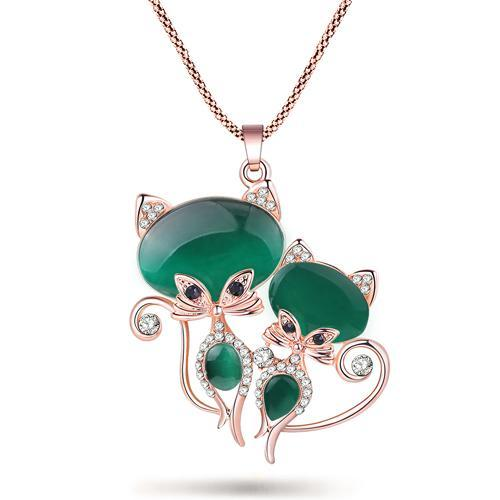 The Stylopedia necklace Green Twin Cat Pendant Necklace
