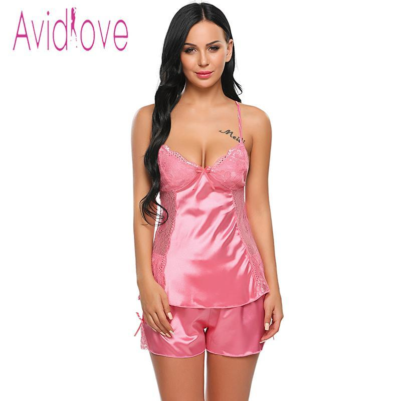 The Stylopedia Night Dress Pink / XXL Avidlove Satin Spaghetti Strap Lingerie Nightgown