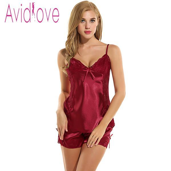 The Stylopedia Night Dress Wine Red / XL Avidlove Satin Spaghetti Strap Lingerie Nightgown