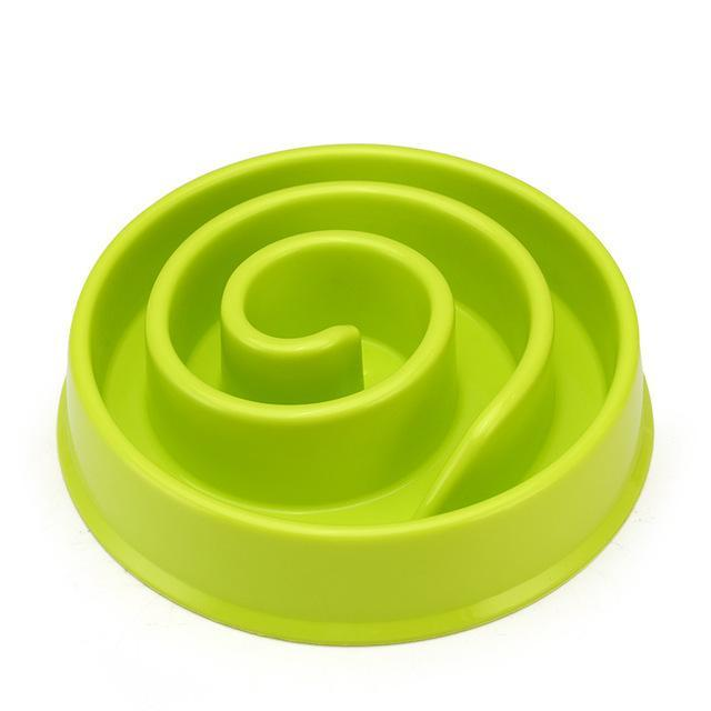 The Stylopedia pet care Green Snails / 20 x 20 x 4cm Slow Feeder Bowl For Cats & Dogs