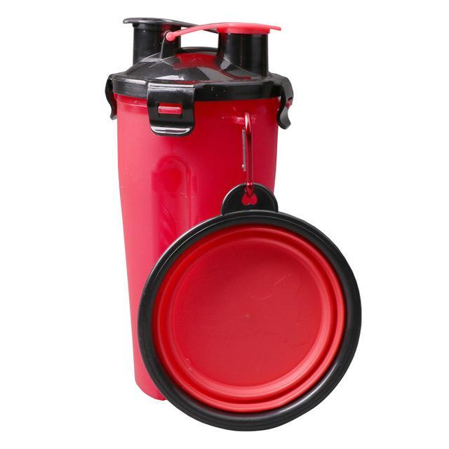The Stylopedia pet care Red Cup & Bowl (60% Off) / S 2 in 1: Food + Water Bottle & Foldable Bowl For Pets