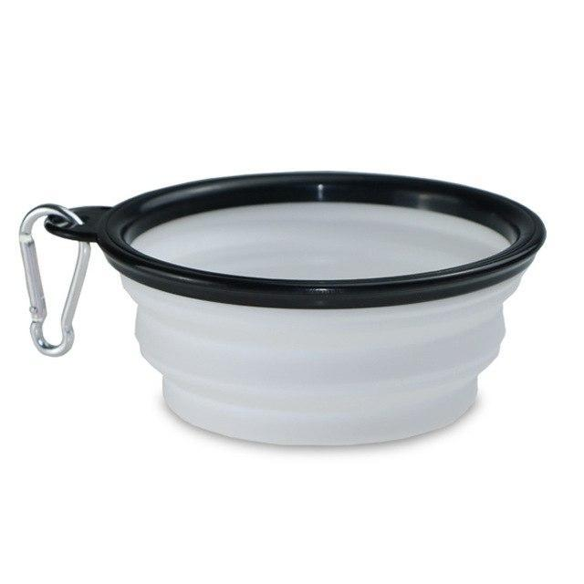 The Stylopedia pet care White Bowl (50% Off) / S 2 in 1: Food + Water Bottle & Foldable Bowl For Pets