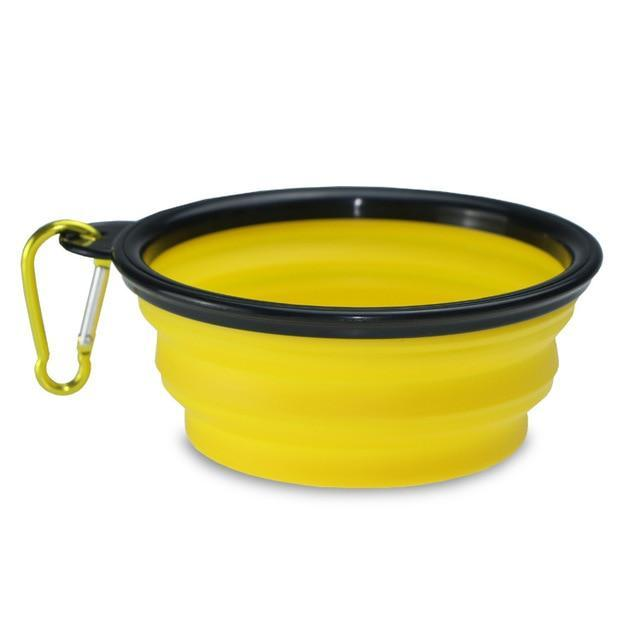The Stylopedia pet care Yellow Bowl (50% Off) / S 2 in 1: Food + Water Bottle & Foldable Bowl For Pets