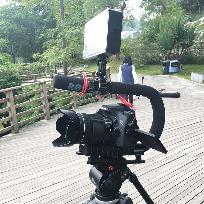 Camera Rig Stabilizer With Microphone and LED Light