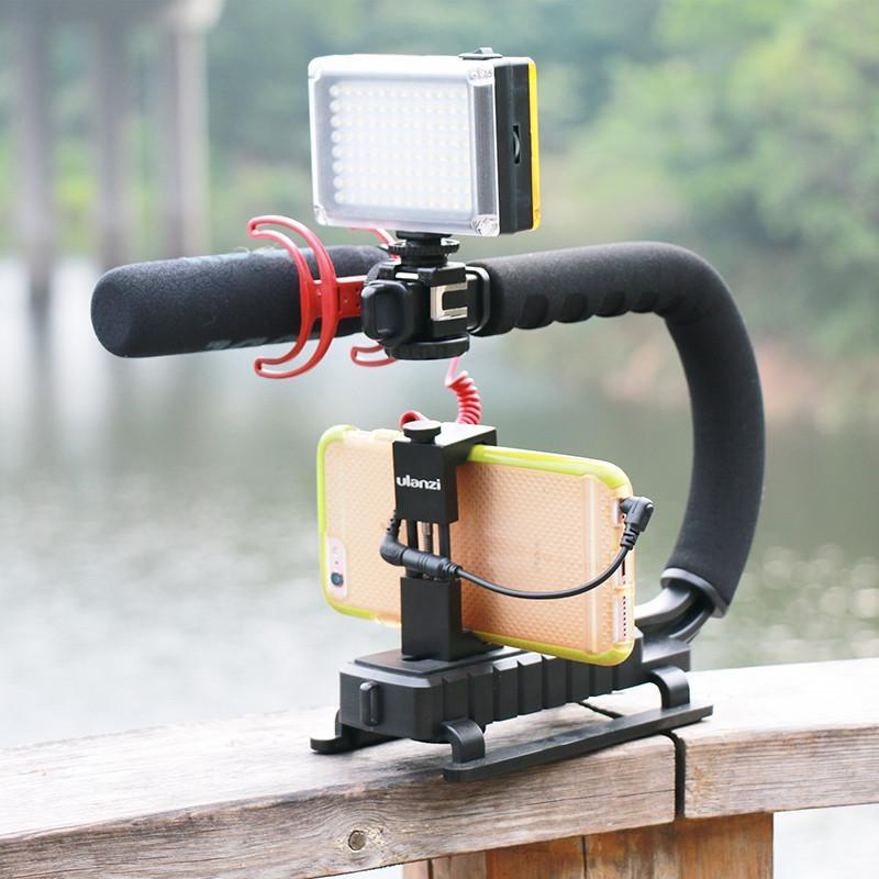 The Stylopedia Phone Accessories Camera Rig Stabilizer With Microphone and LED Light