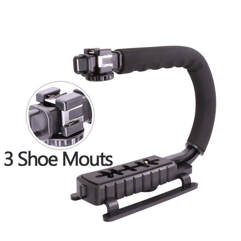 The Stylopedia Phone Accessories Only U-Grip Camera Rig Stabilizer With Microphone and LED Light