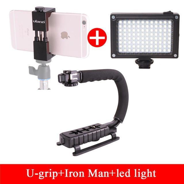The Stylopedia Phone Accessories U-Grip with Light kit Camera Rig Stabilizer With Microphone and LED Light