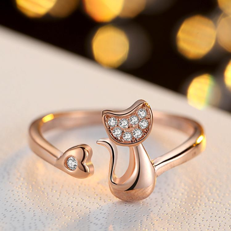The Stylopedia Rings Gold Cute Cat Ring