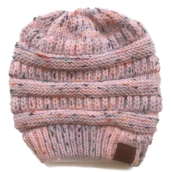 The Stylopedia Women Clothing Baby Pink Mix CutePony™ Soft Ponytail Beanie