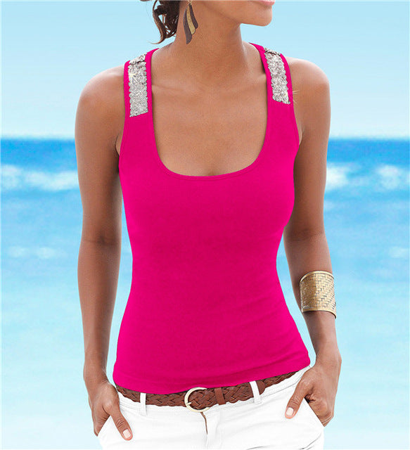 Sleeveless Square Neck Loose Tank Tops