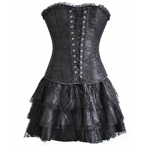 Floral Lace Up Overbust Corset
