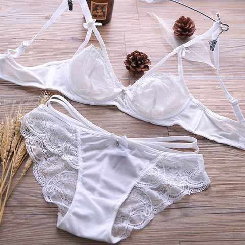 Breathable Sexy Lace Transparent Ultra-thin Bra Set