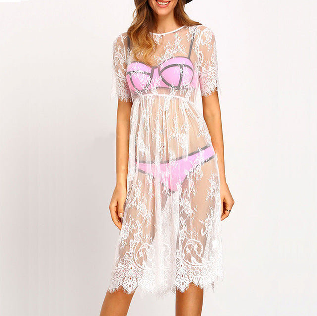 Round Neck Lace Babydoll Nightgown