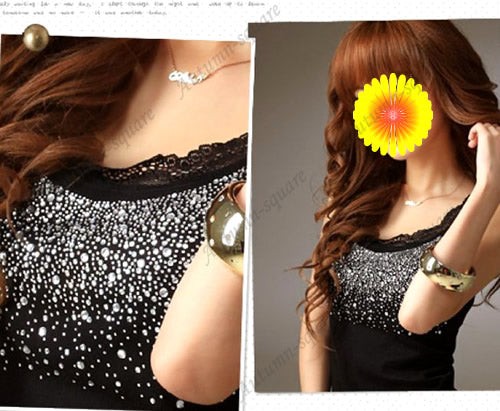 Rhinestone Lace Stunning Based Sleeveless Tank