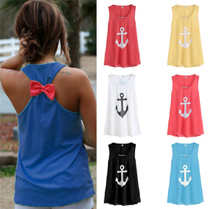 Sleeveless Bow Casual Tank Top