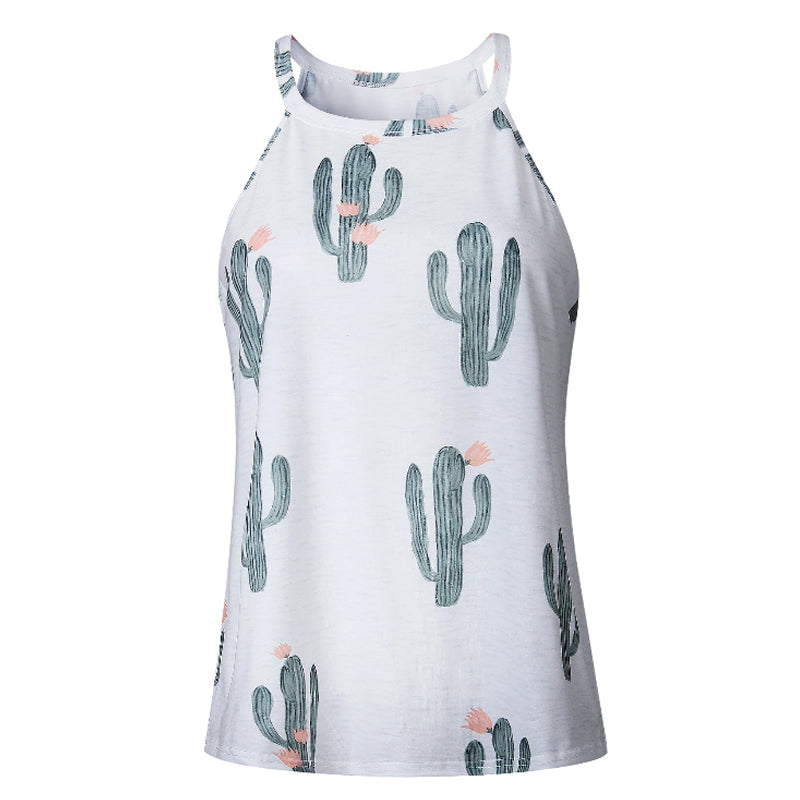 Cactus Printed Diffrent Color Tank Tops