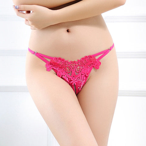 Low-waist Embroidery Flower Transparent Sexy Panties