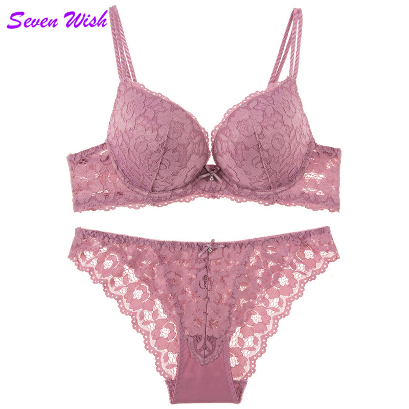 Under The Care Of Lace Thick Cup Bra Set