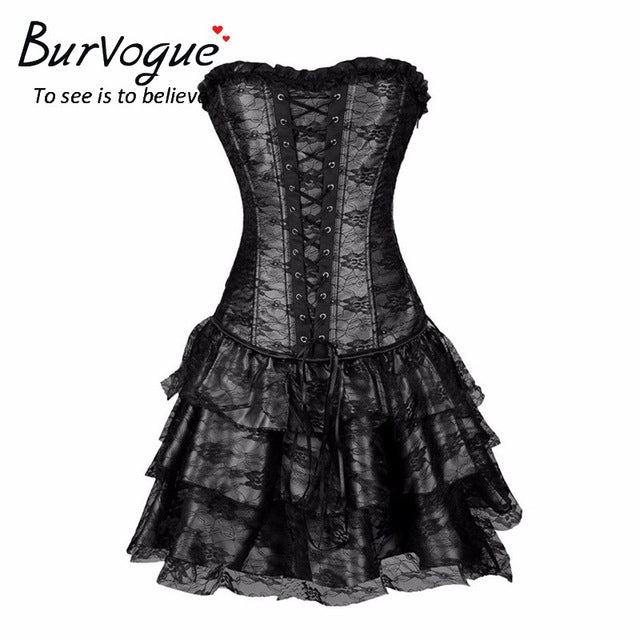 Gothic Lace Trim Over Bust Corset