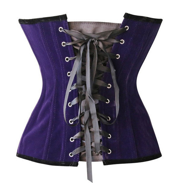 Bustier Corsets Women Lace-Up Gothic Corset Vintage Sexy Tops Retro Zipper Purple Tight Goth Corselets Underbust Corsets