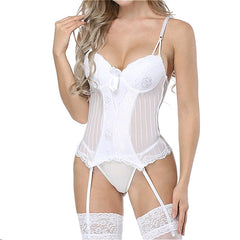White Lace Bustier Corset with Garter Belt Fashion Waist Cincher Shaper Lingerie Bustier Tops