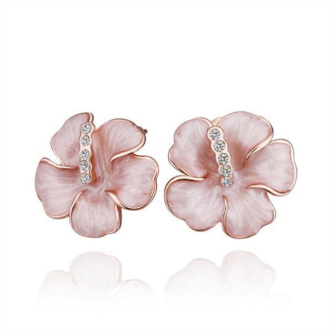 Swarovski Crystal 18K Rose Gold Plated Flower Stud Earrings for Womens - CharmToSpare