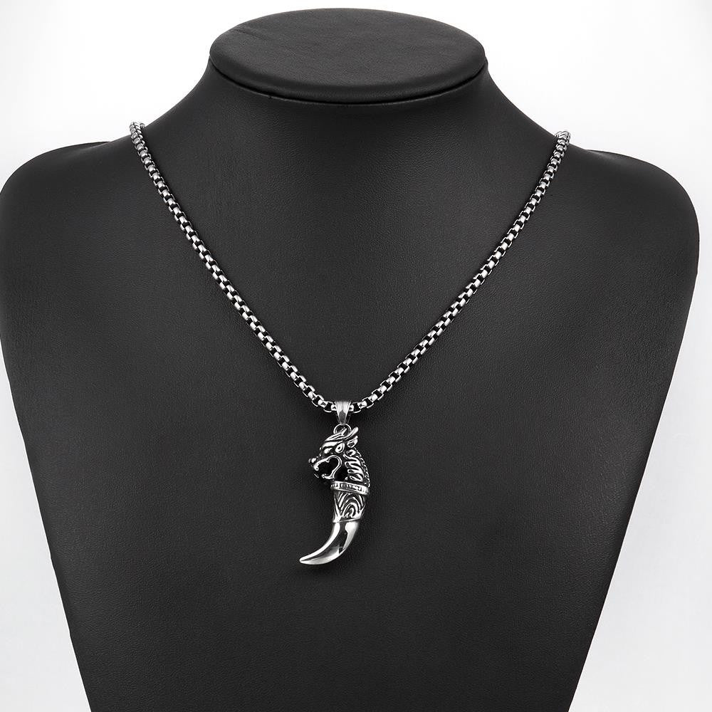 Mens Stainless Steel Dragon Tooth Necklace - CharmToSpare
