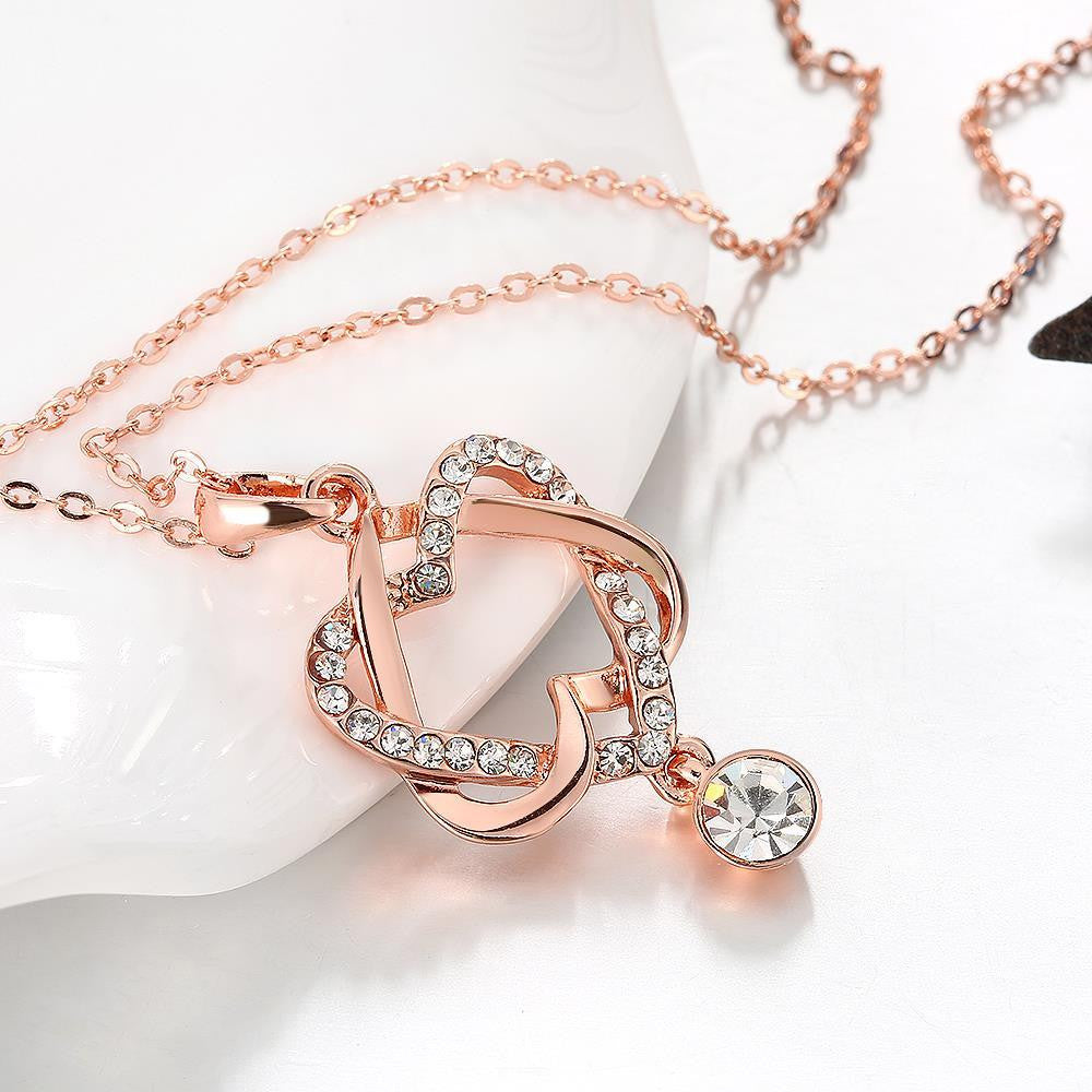 Swarovski Crystal 18K Rose Plated Intertwined Hearts Necklace - CharmToSpare