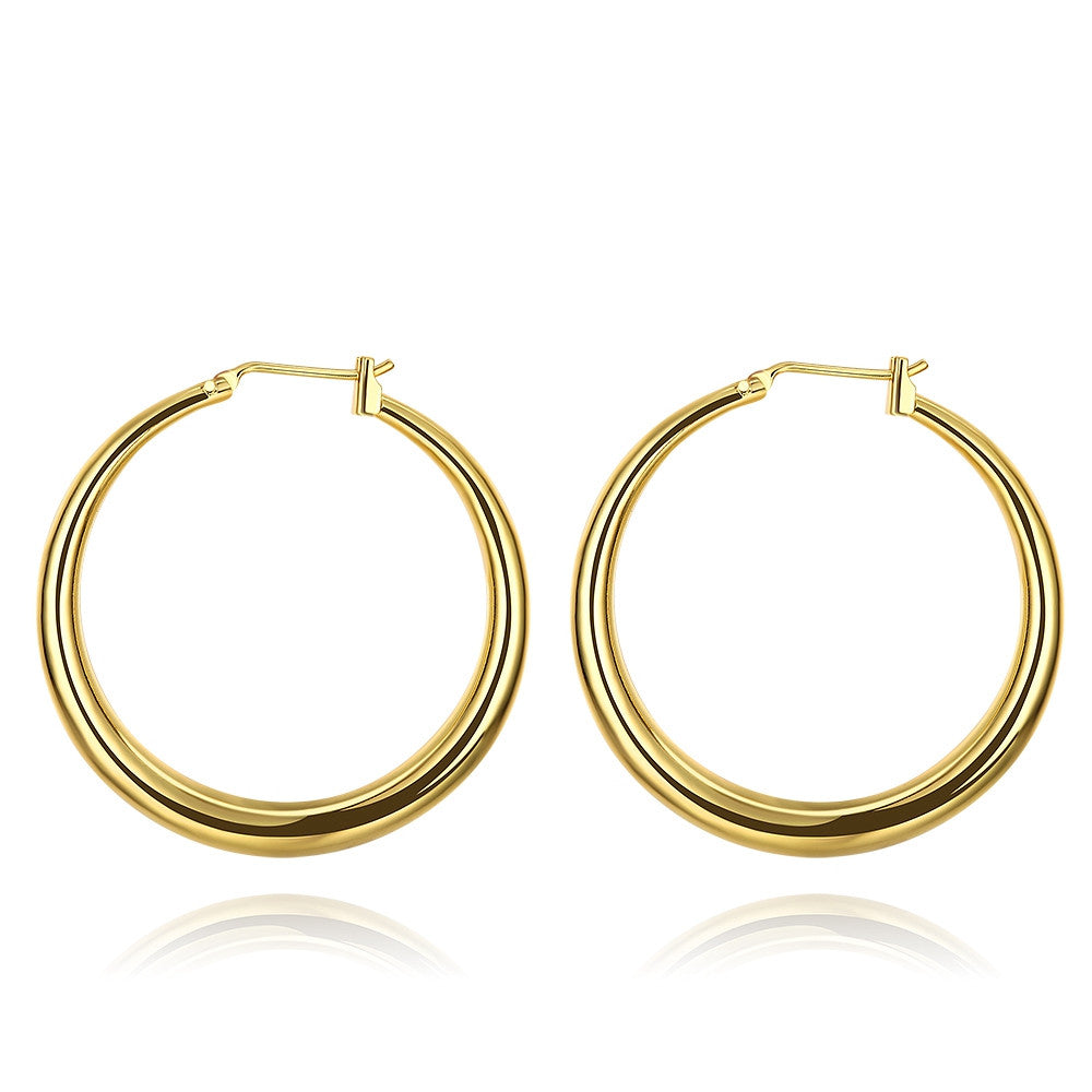 Italian-Made 18K Gold Plated French Lock Hoop Earrings - CharmToSpare