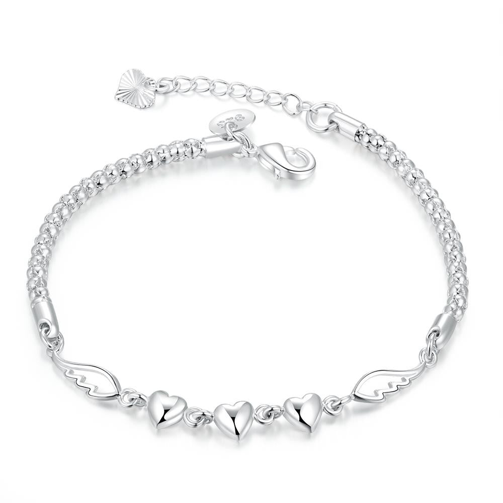 Angles Wings Triple Heart Bracelet in 18K White Gold Plated - CharmToSpare
