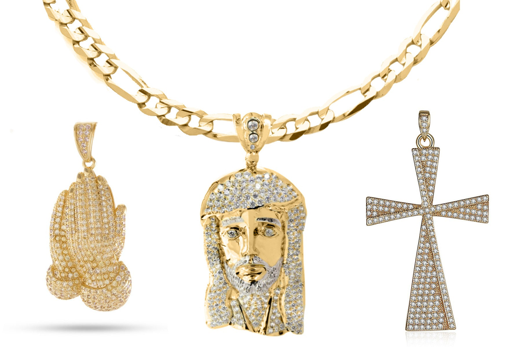 18K Gold Plated Religious Cross Set - Fiagro Necklace + 3 Pendants Set 2 - CharmToSpare