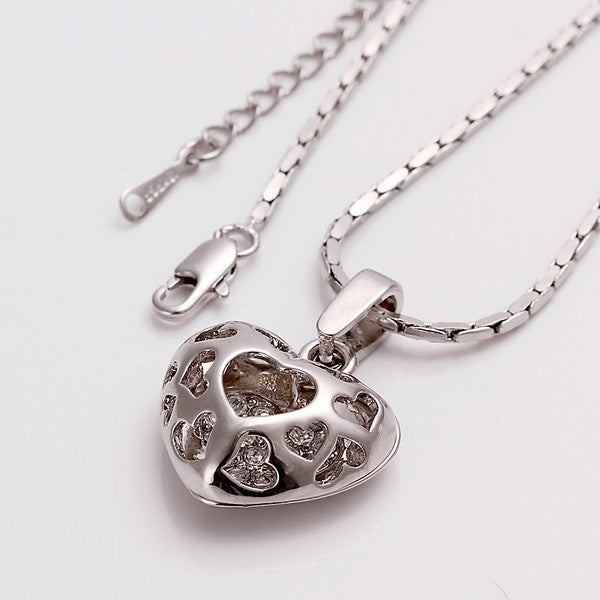 White Gold Plated Laser Cut Petite Heart Necklace - CharmToSpare