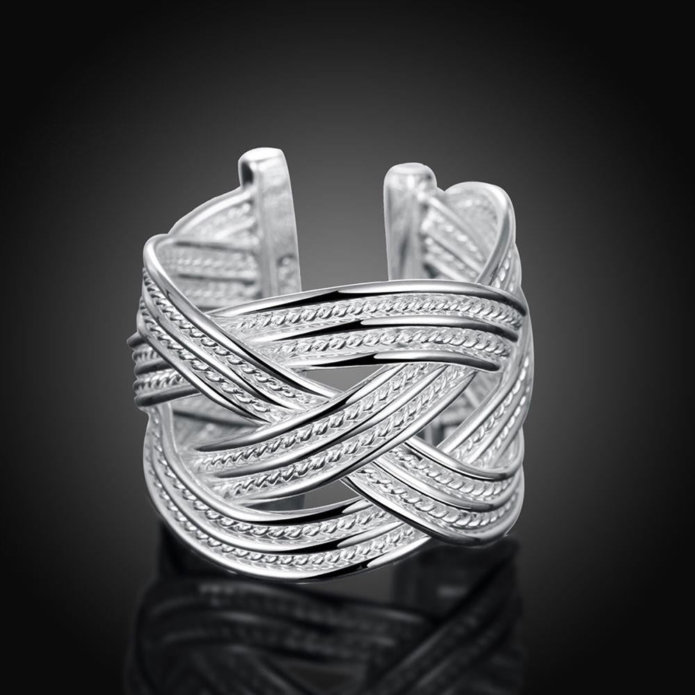 Weved Ring Adjustable in White Gold Plated - CharmToSpare