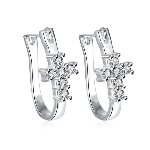 Swarovski Crystal Pave Cross Earring in White Gold Plated - CharmToSpare