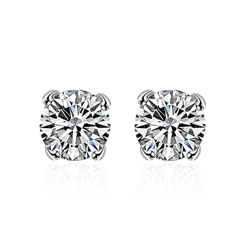 Swarovski Crystal Stud diamond cut Earring in White Gold Plated - CharmToSpare