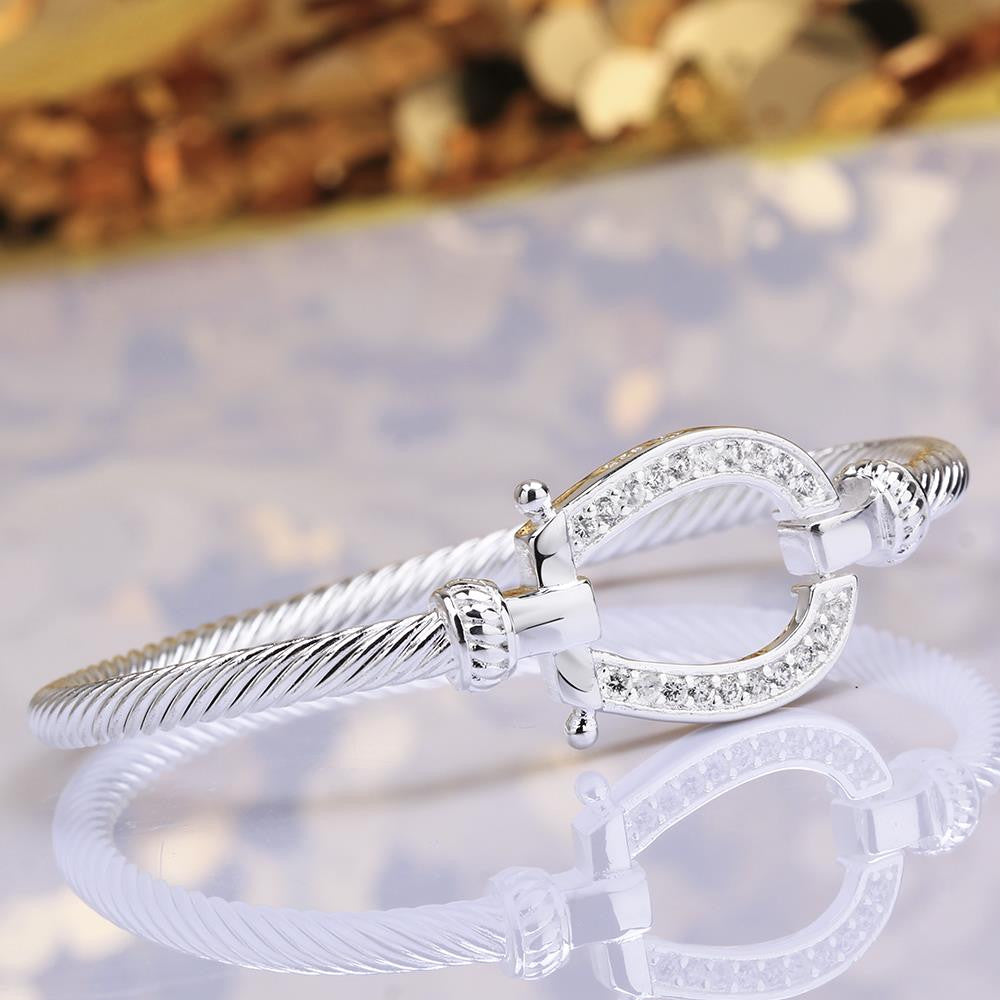 Swarovski Crystal Lucky Horseshoe Bangle in 18K White Gold Plated - CharmToSpare