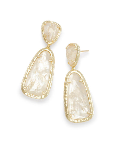 Made with Swarovski Crystal 18K Gold Filled Ivory Stone Drop Earrings - CharmToSpare
