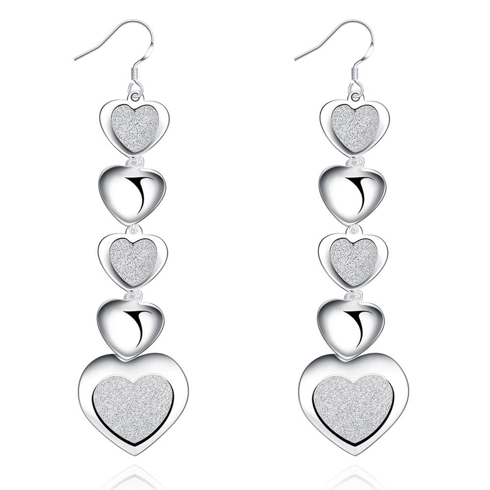 Infinity Hearts Drop Earring in White Gold Plated - CharmToSpare