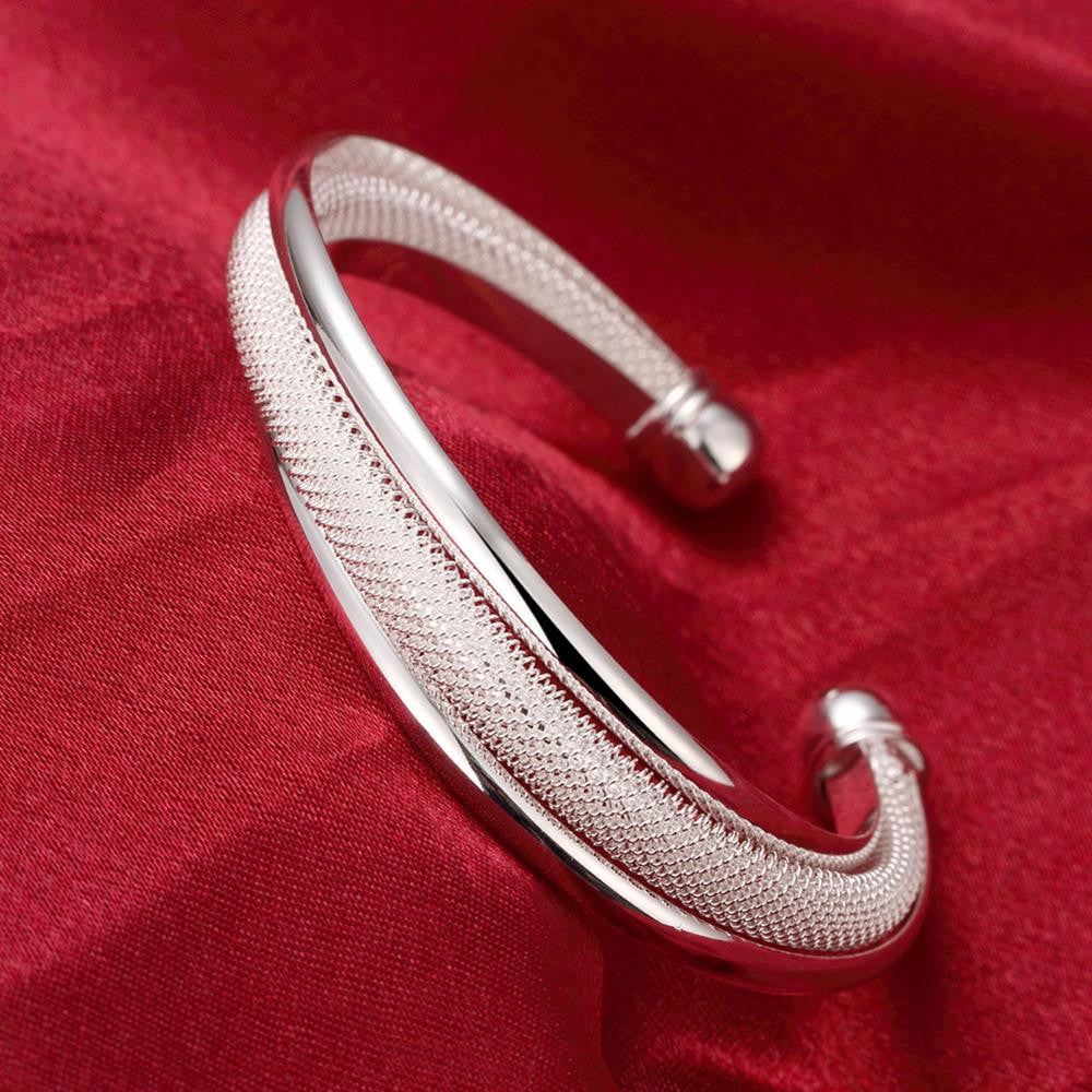 Double Layer Mesh Bangle in 18K White Gold Plated - CharmToSpare