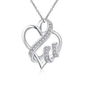 Swarovski Crystal I LOVE YOU Necklace in 18K White Gold Plated - CharmToSpare