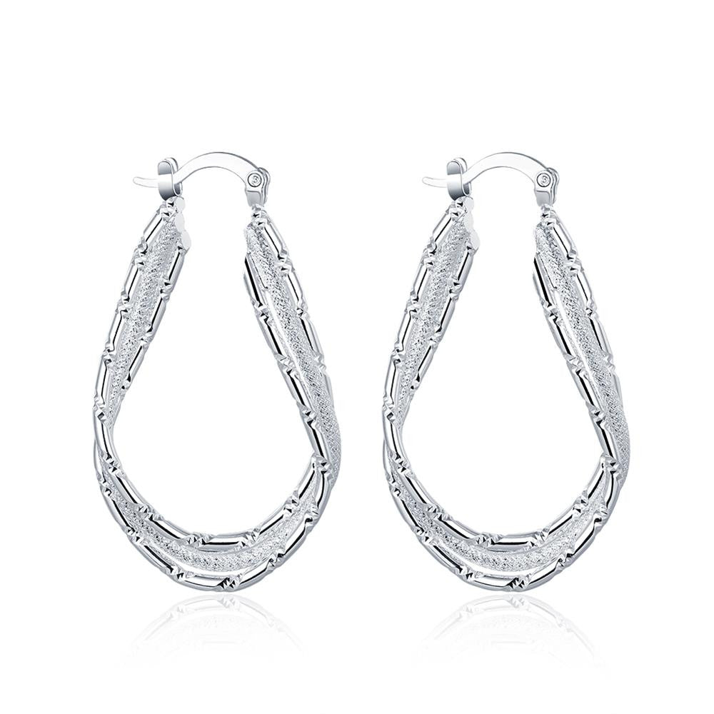 Diamond Cut Inception Hoop Drop Earring in White Gold Plated - CharmToSpare