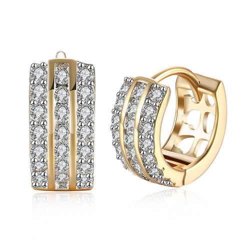 Swarovski Crystal 18K Gold Plated Triple Row Huggie Earring - CharmToSpare