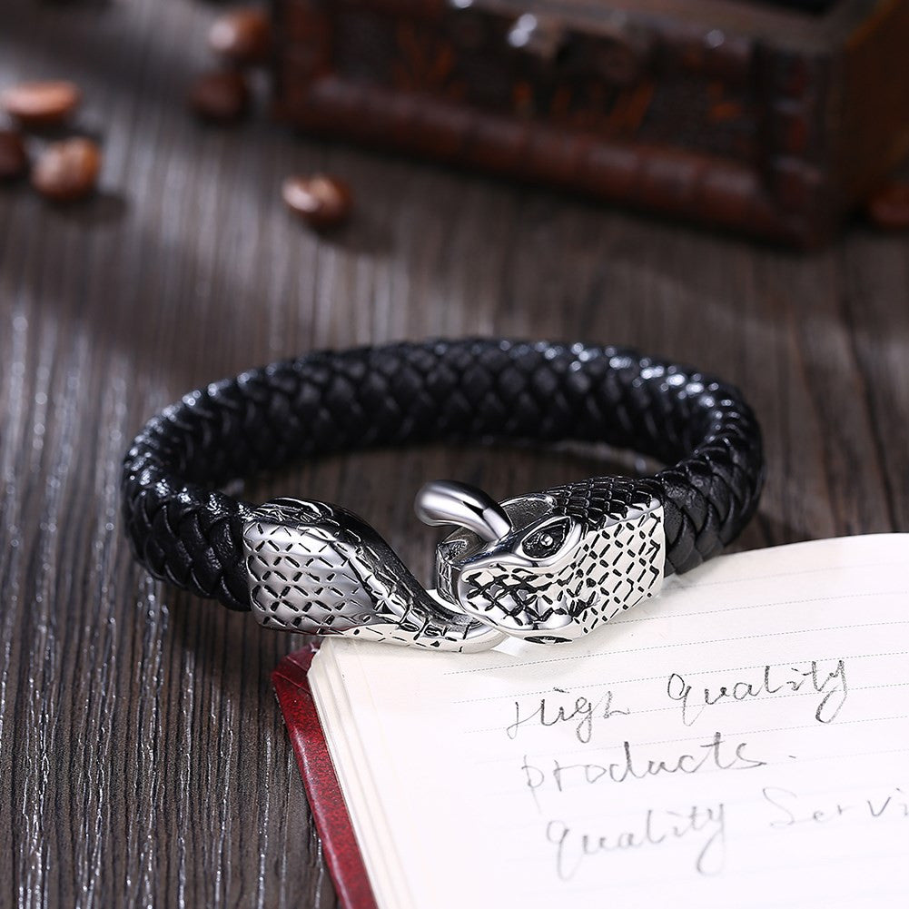 Mens Stainless Steel Leather Bracelet - CharmToSpare