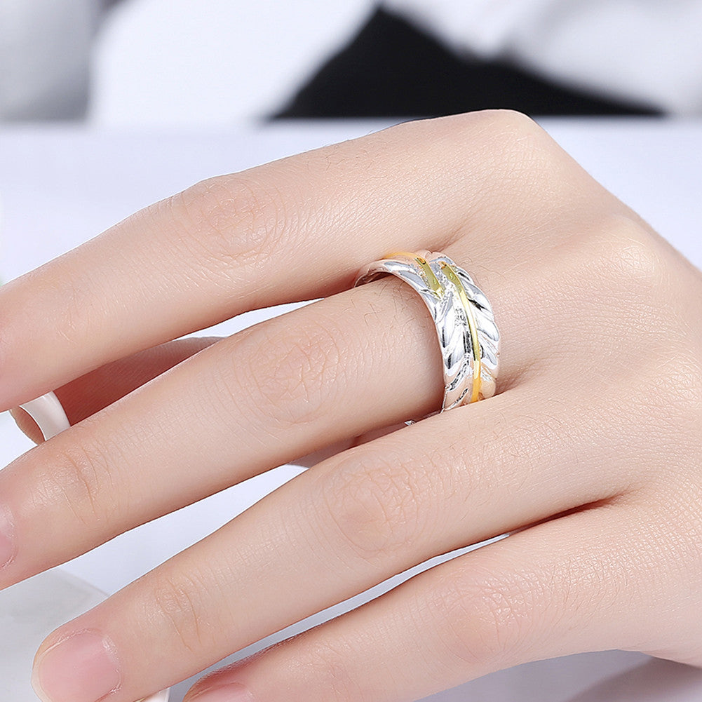 Leaf Ring Adjustable in White Gold Plated - CharmToSpare