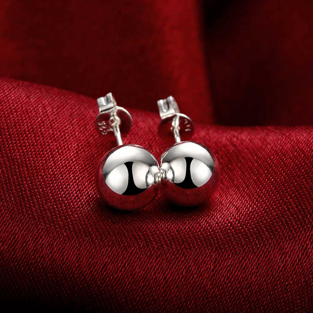 18K White Gold Pearl Ball Stud Earrings - CharmToSpare