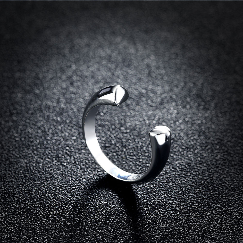 Double Heart Ring Adjustable in White Gold Plated - CharmToSpare