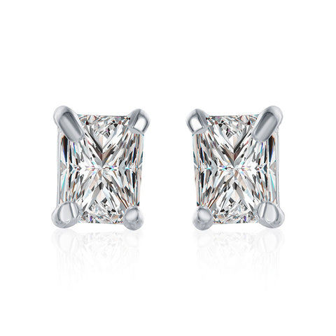 Swarovski Crystal Stud Rectangle diamond cut Earring in White Gold Plated - CharmToSpare