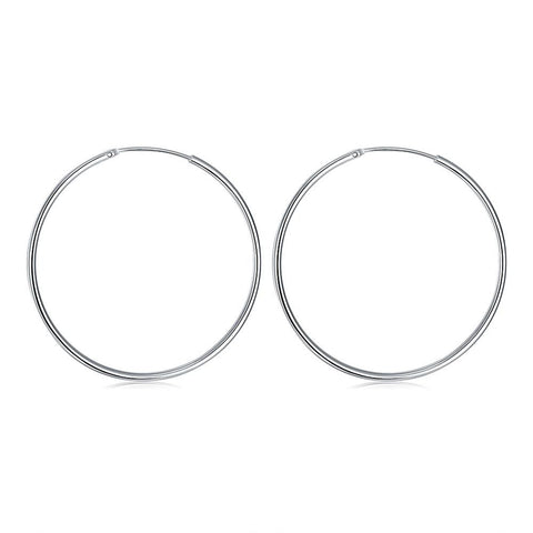 Classic Hoop 5mm Earring in White Gold Plated - CharmToSpare